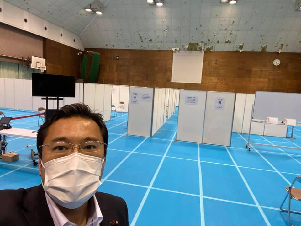 コロナウイルスワクチン集団接種会場「中スポーツセンター」視察